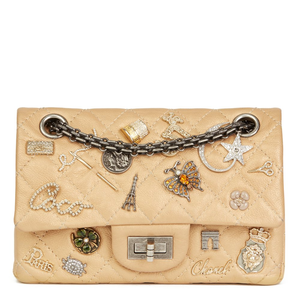 b4e5bb4239c456 Chanel Gold Aged Metallic Calfskin Leather Lucky Charms 2.55 Reissue 224  Double Flap Bag