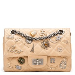 Chanel Gold Aged Metallic Calfskin Leather Lucky Charms 2.55 Reissue 224 Double Flap Bag