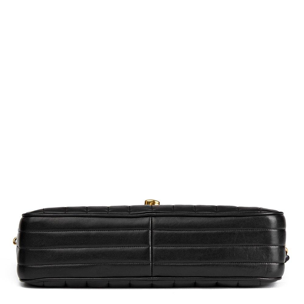 d142b375f892a2 Chanel Black Vertical Quilted Lambskin Vintage Jumbo XL Fringe Camera Bag