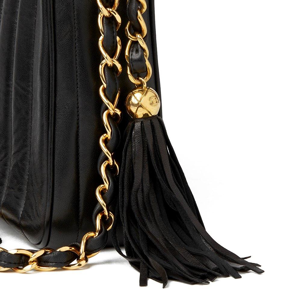 8bc238e5168b Chanel Black Vertical Quilted Lambskin Vintage Jumbo XL Fringe Camera Bag