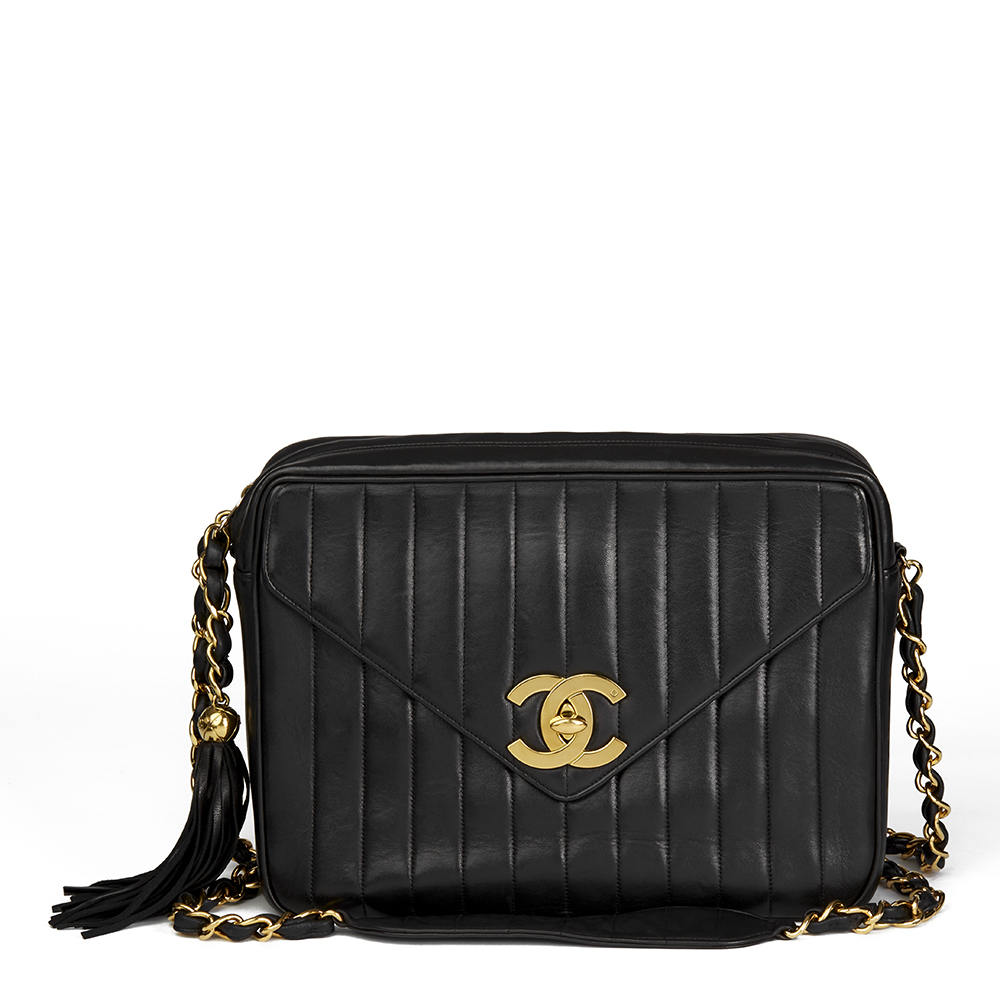 43650a84d4d6 Chanel Black Vertical Quilted Lambskin Vintage Jumbo XL Fringe Camera Bag