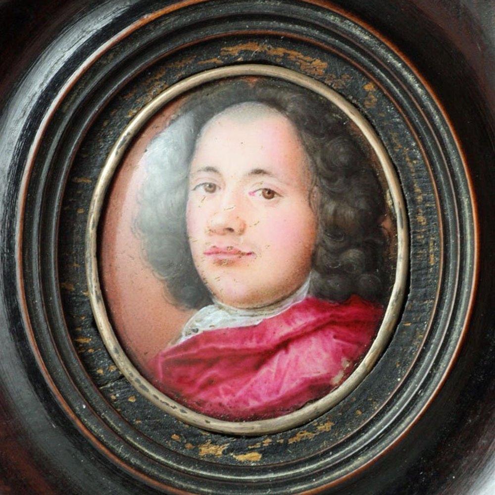 Framed Miniature Enamel Portrait Of Doctor Sandilands C.1680