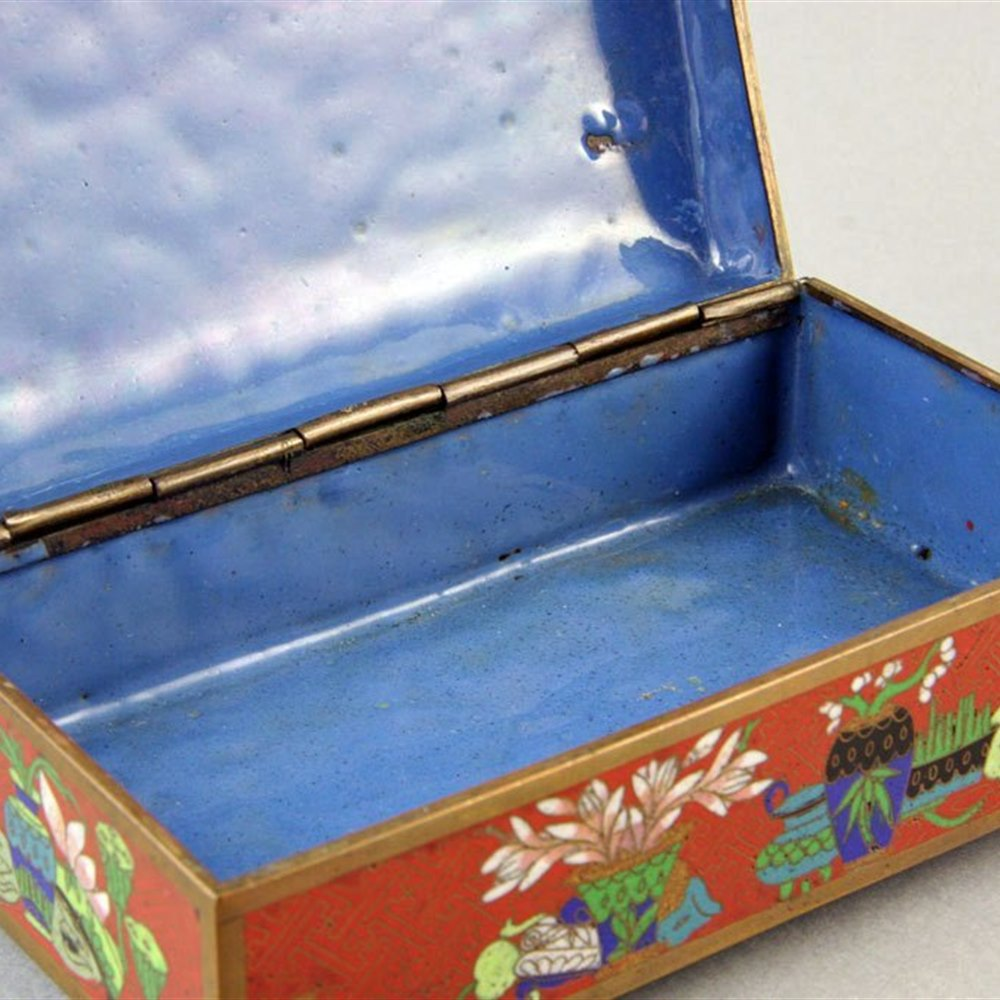 Antique Chinese Cloisonne Lidded Box C.1900