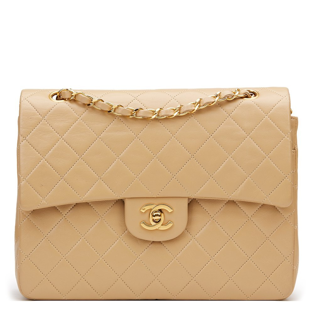 Chanel Beige Quilted Lambskin Vintage Medium Tall Classic Double Flap Bag a6ba9a4bb5f1e