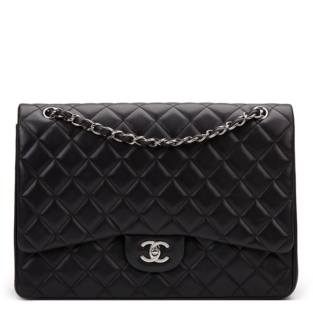 59213c799c34 Chanel Black Quilted Lambskin Maxi Classic Single Flap Bag