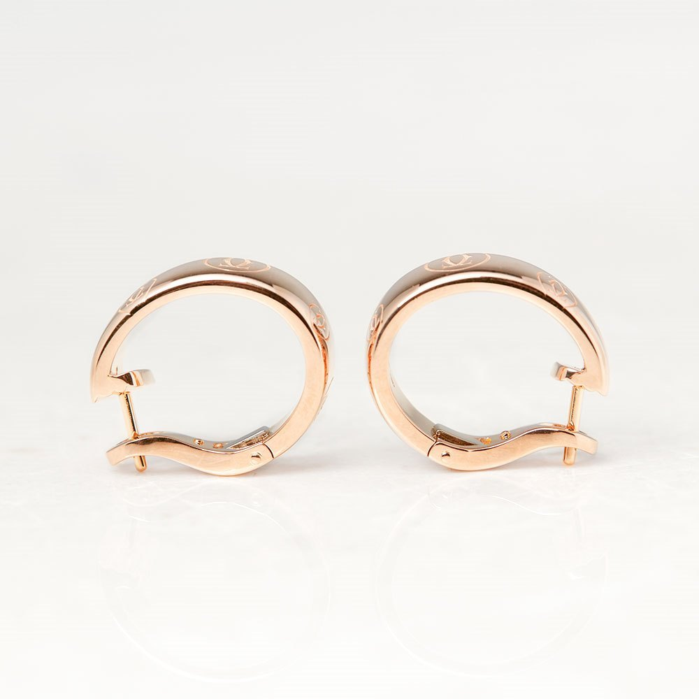 Cartier 18k Rose Gold Logo de Cartier Hoop Earrings