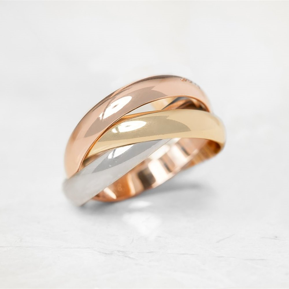 Cartier 18k Yellow, White & Rose Gold Trinity Ring Size K