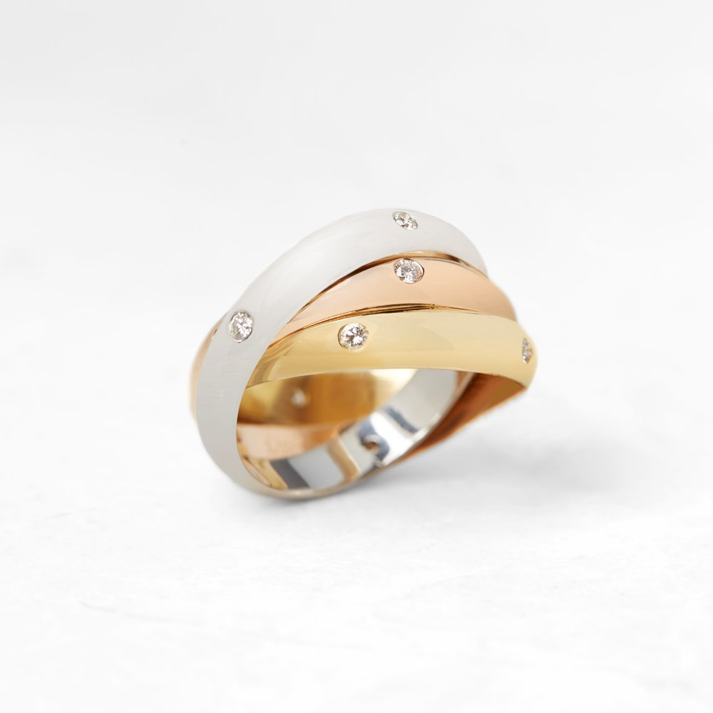 Cartier 18k Yellow, White & Rose Gold Diamond Trinity Ring Size L