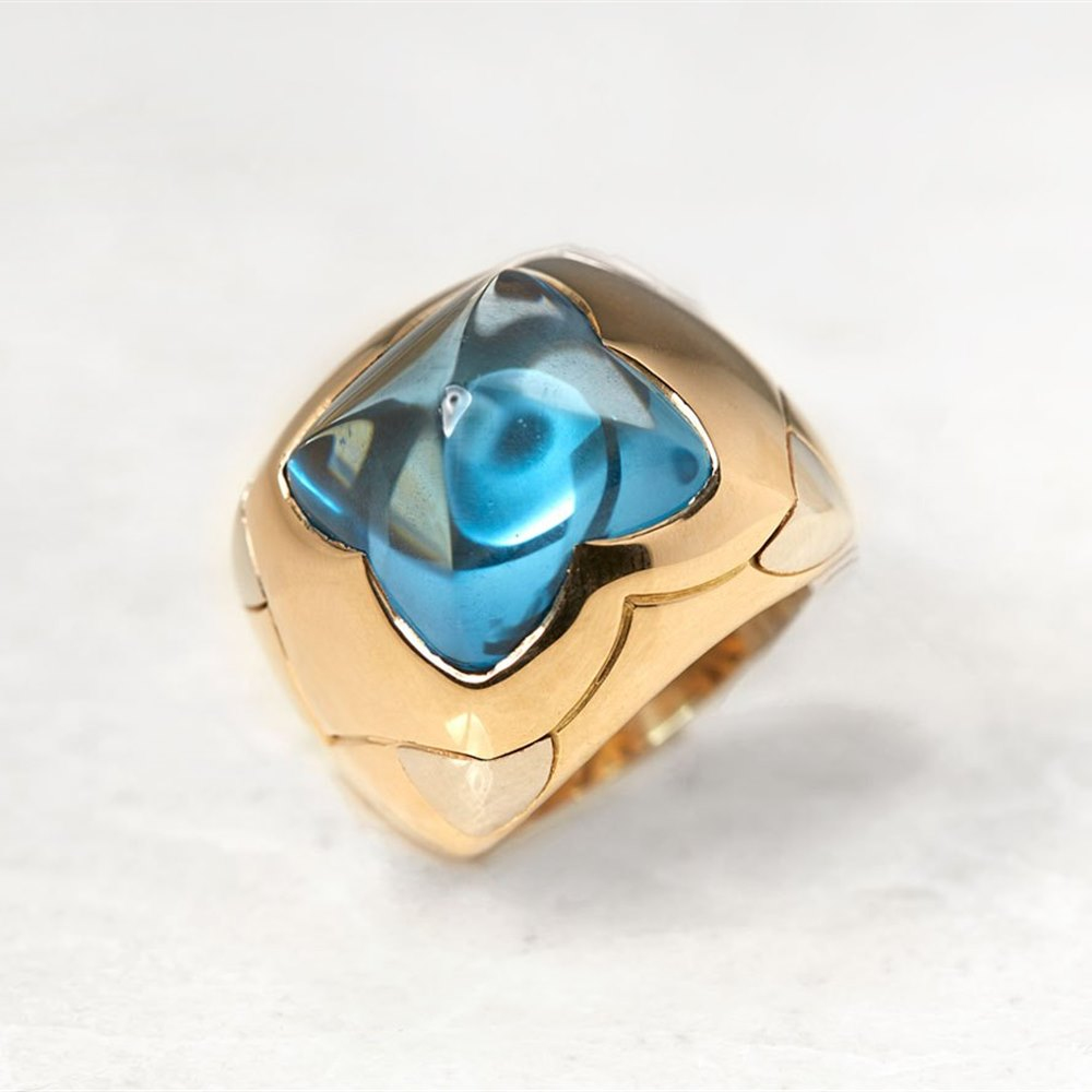 Bulgari 18k Yellow Gold Blue Topaz Piramide Ring