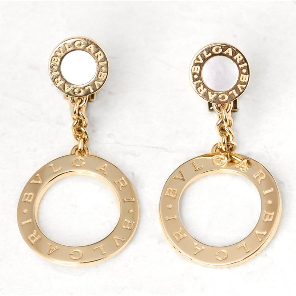 Bulgari 18k Yellow Gold Mother of Pearl Circle Drop Earrings