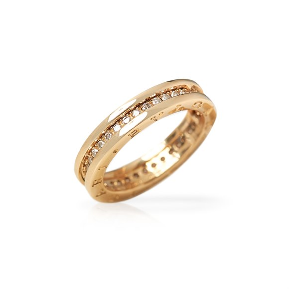 Bulgari 18k Yellow Gold Diamond B.Zero 1 Band Ring