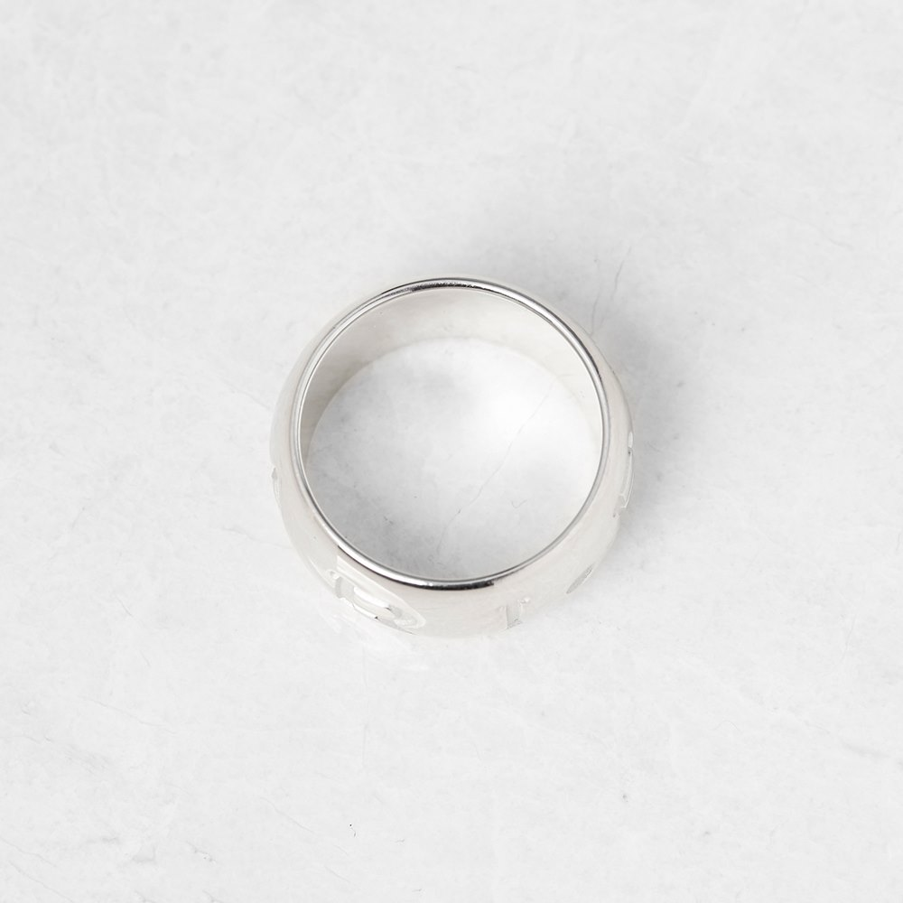 Bulgari 18k White Gold Monologo Band Ring