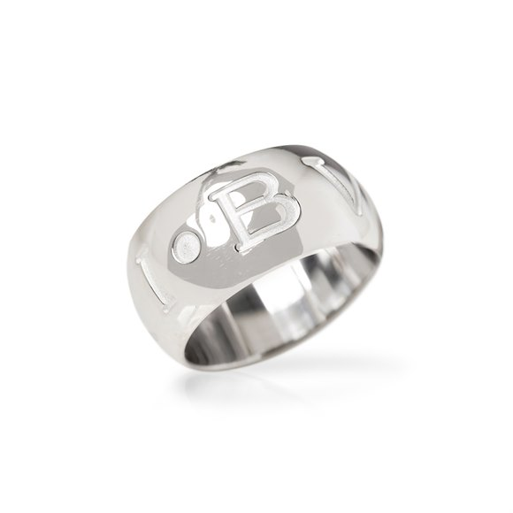 Bulgari 18k White Gold Monologo Ring