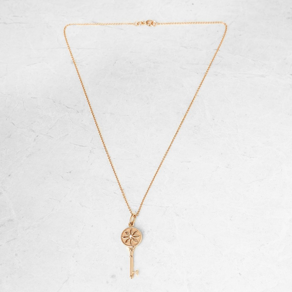 Tiffany & Co. 18k Rose Gold Daisy Key Pendant Necklace