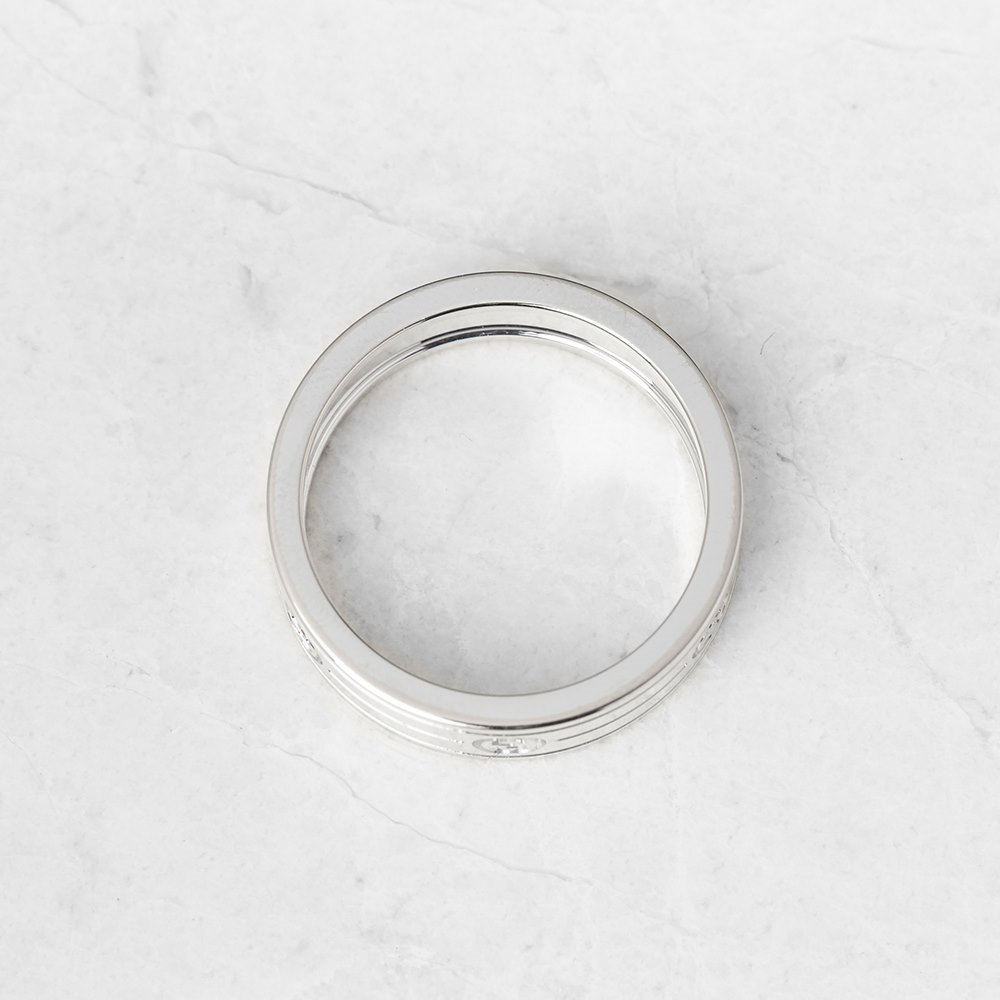 Gucci 18k White Gold Logo Band Ring