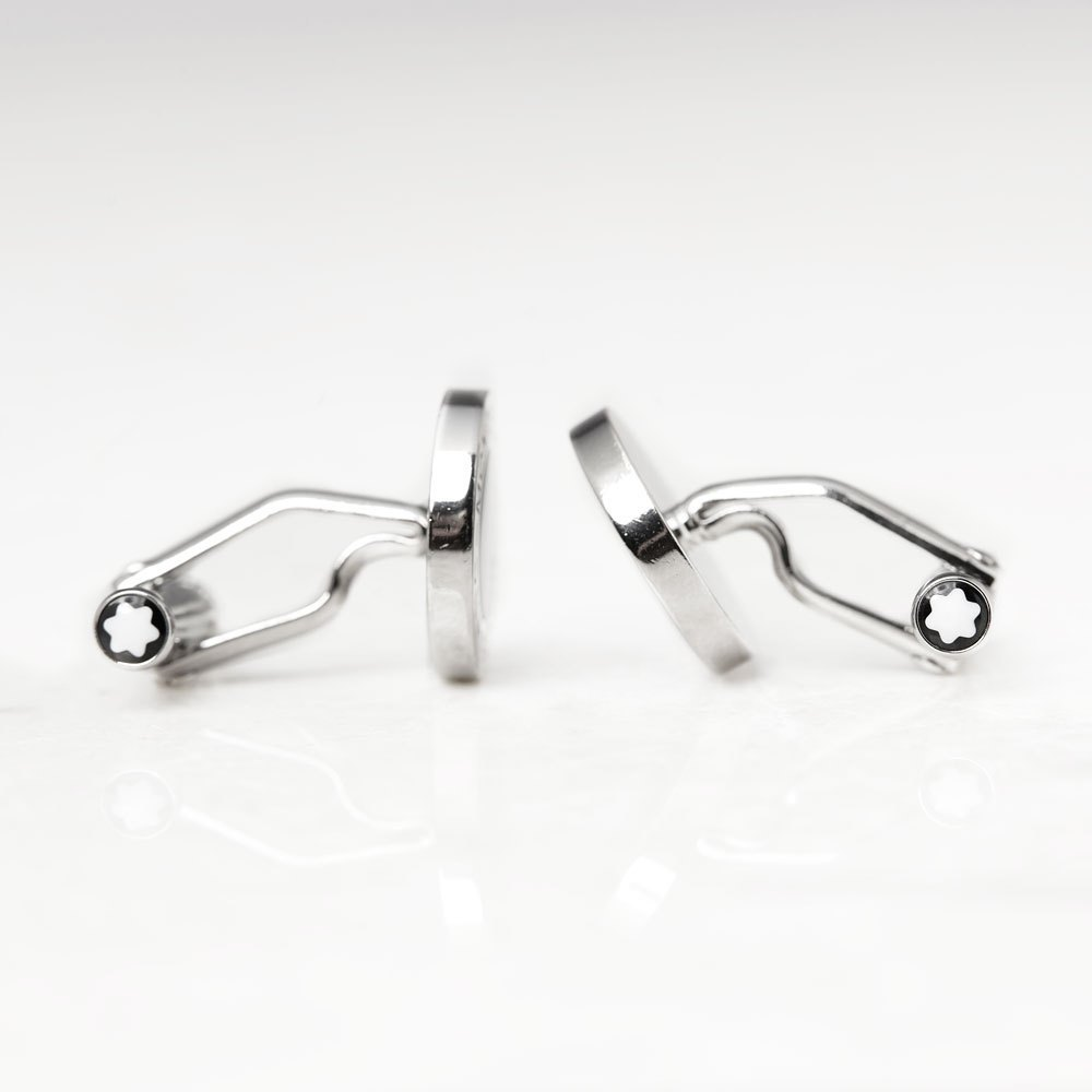 Montblanc Stainless Steel Black Onyx Iconic Cufflinks