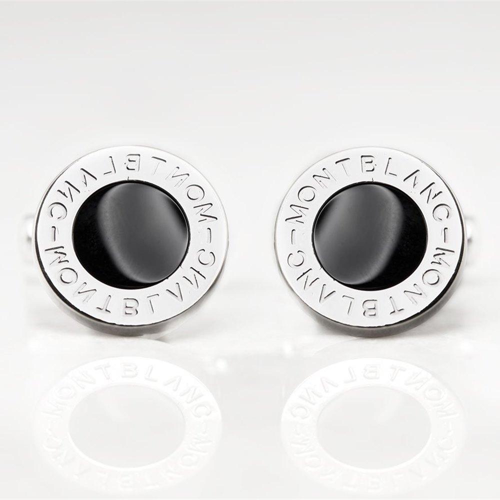 Montblanc Stainless Steel Black Onyx Iconic Cufflinks