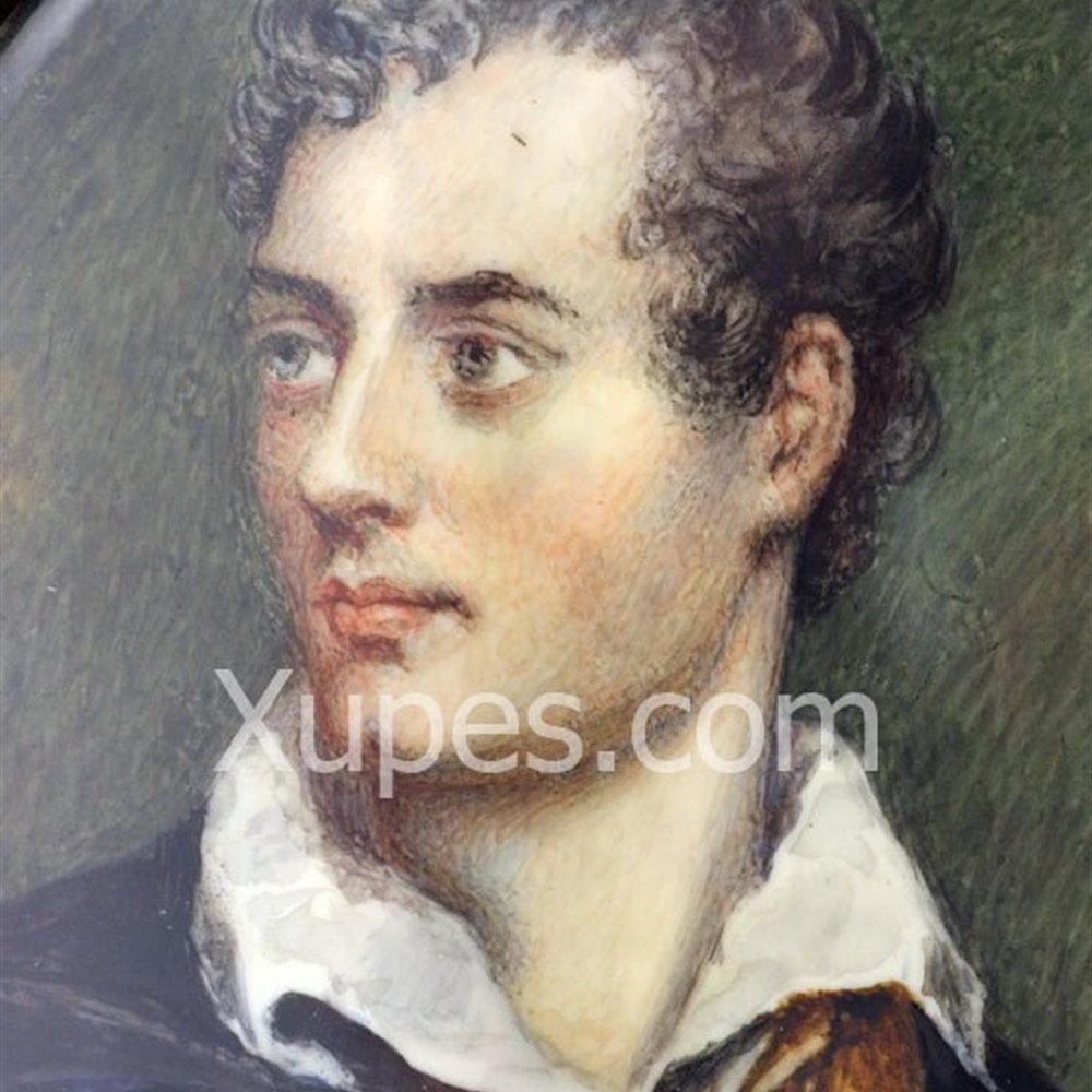 Miniature Portrait Of Lord Byron Fine Miniature Portrait Of Lord Byron Style Of Richard Westall 19Th C.