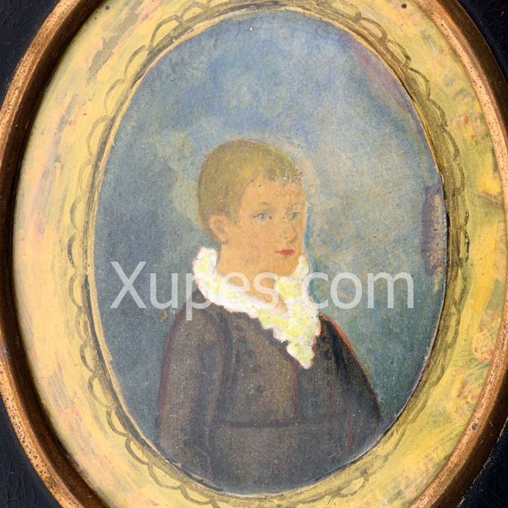 Miss H Horn signature on reverse Naive Framed Portrait Miniature Of E N Bradley By H Horn 1770