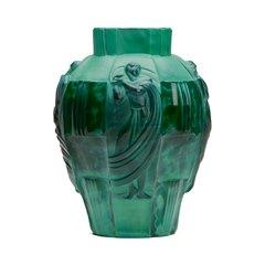 ARTUR PLEVA CURT SCHLEVOGT ART DECO MALACHITE GLASS VASE
