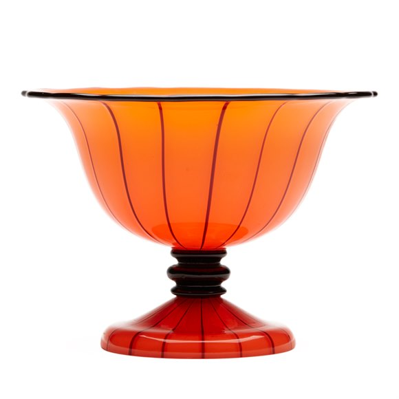 MICHAEL POWOLNY LOETZ TANGO PIPED PEDESTAL GLASS BOWL c1914