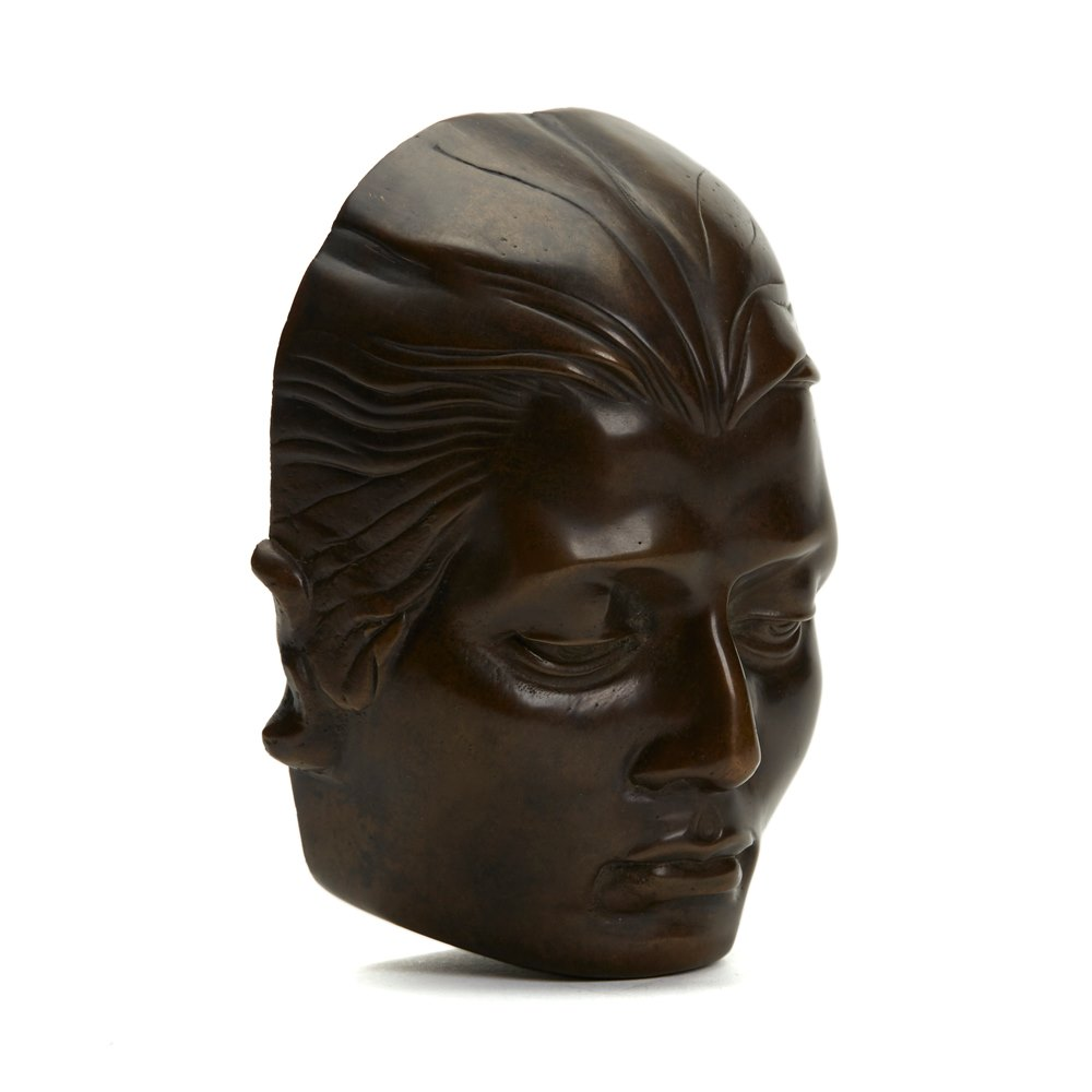 MAURICE GUIRAUD RIVIERE ART DECO BRONZE FACE SCULPTURE C.1925