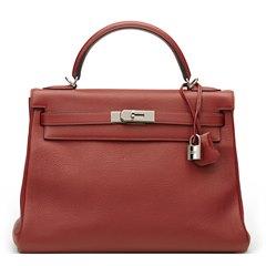Hermès Rouge H Evergrain Leather Kelly 32cm Retourne