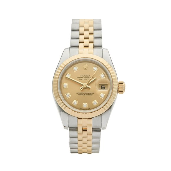 Rolex DateJust 26 Diamond 18k Stainless Steel & Yellow Gold - 179173