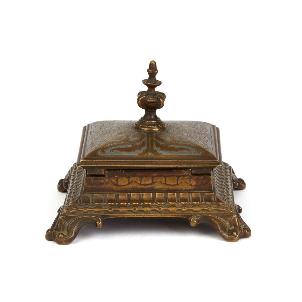 ANTIQUE AUSTRIAN INLAID BRONZE STAMP HOLDER MARKED M.F. Latter 19th Century