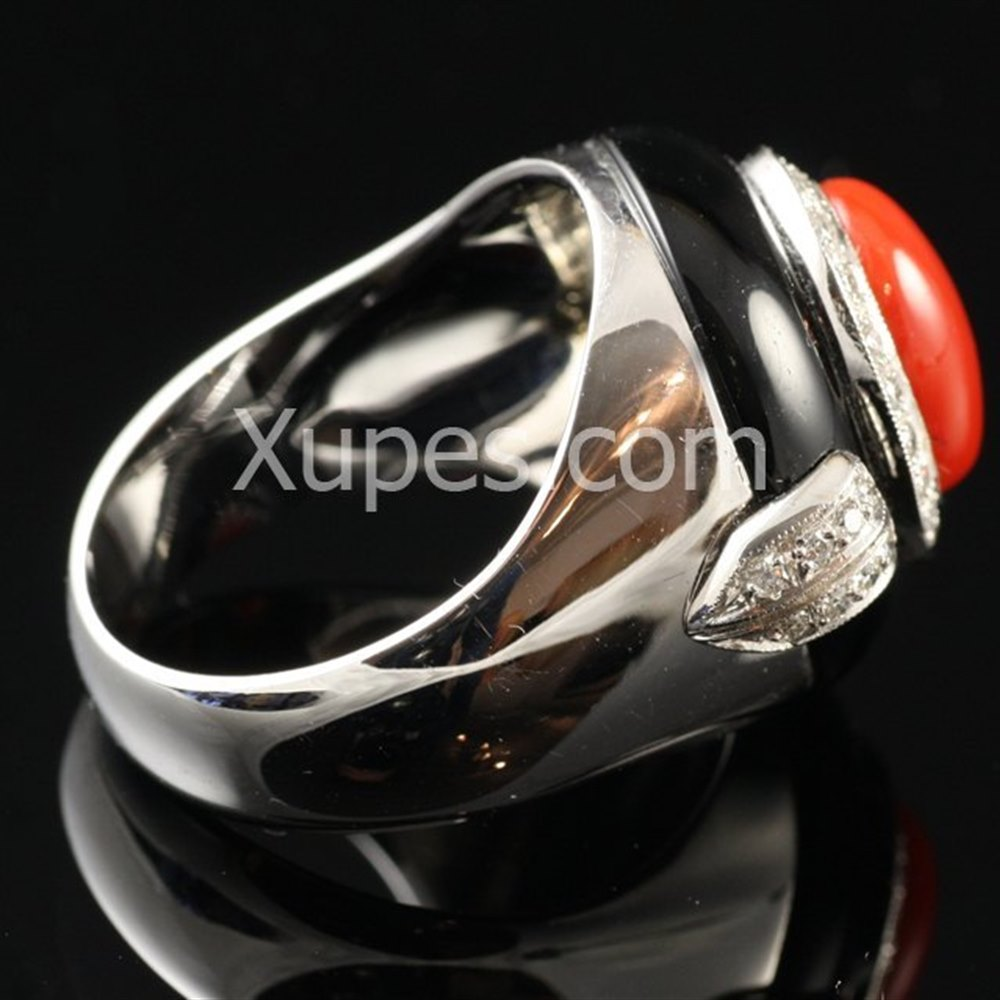 18k White Gold Retro Art Deco 18K White Gold Onyx, Coral & Diamond Ring