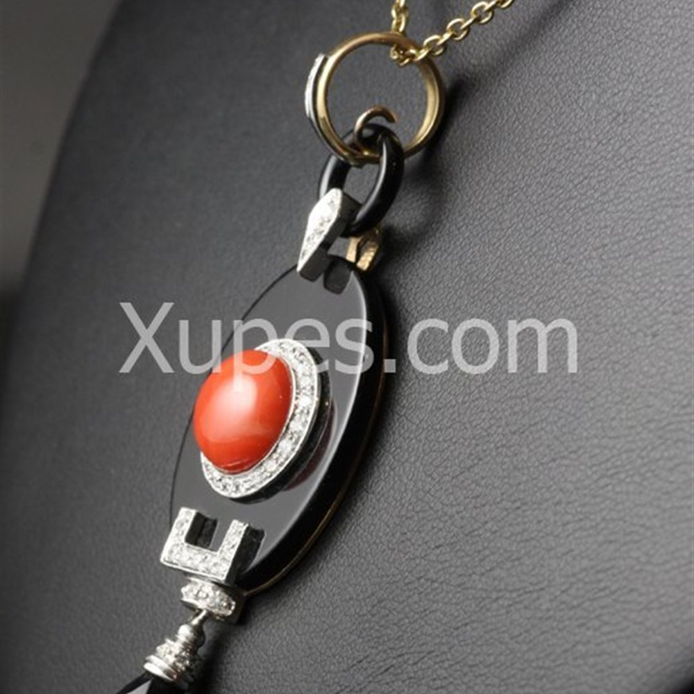 18k White/Rose Gold Retro Art Deco 18K White Gold Onyx, Coral & Diamond Pendant & Rose Gold Chain