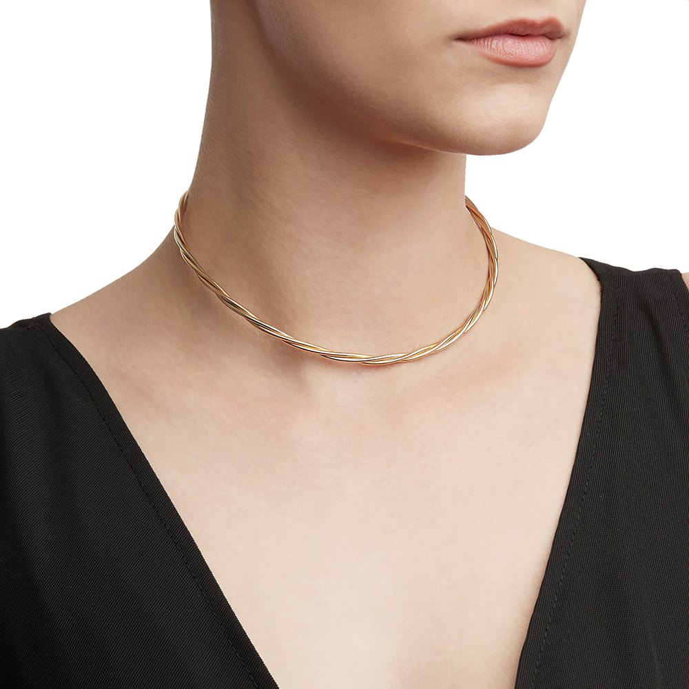 Cartier 18k Yellow, White & Rose Gold Twist Design Necklace