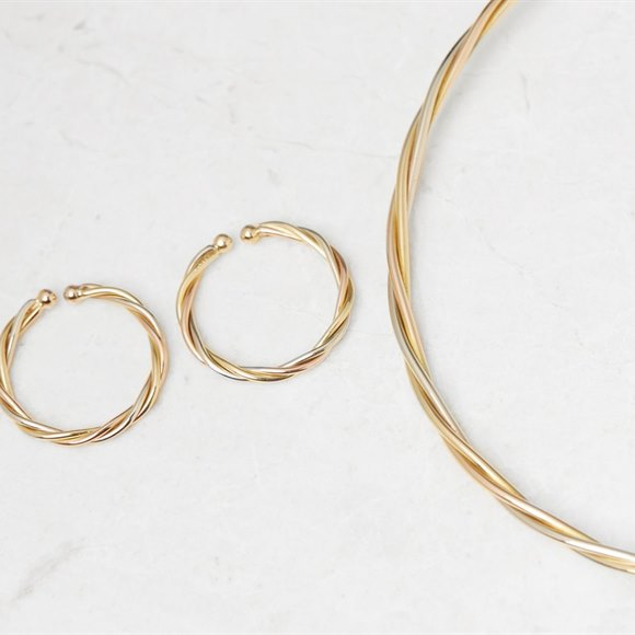 Cartier 18k Yellow, White & Rose Gold Trinity Suite