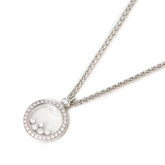 Chopard 18k White Gold Happy Diamonds Pendant Necklace