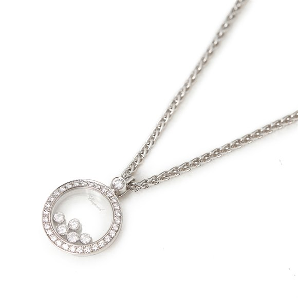Chopard 18k White Gold Happy Diamonds Pendant Necklace