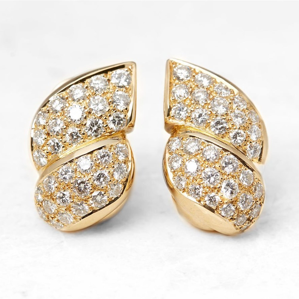 Van Cleef & Arpels 18k Yellow Gold Diamond Earrings