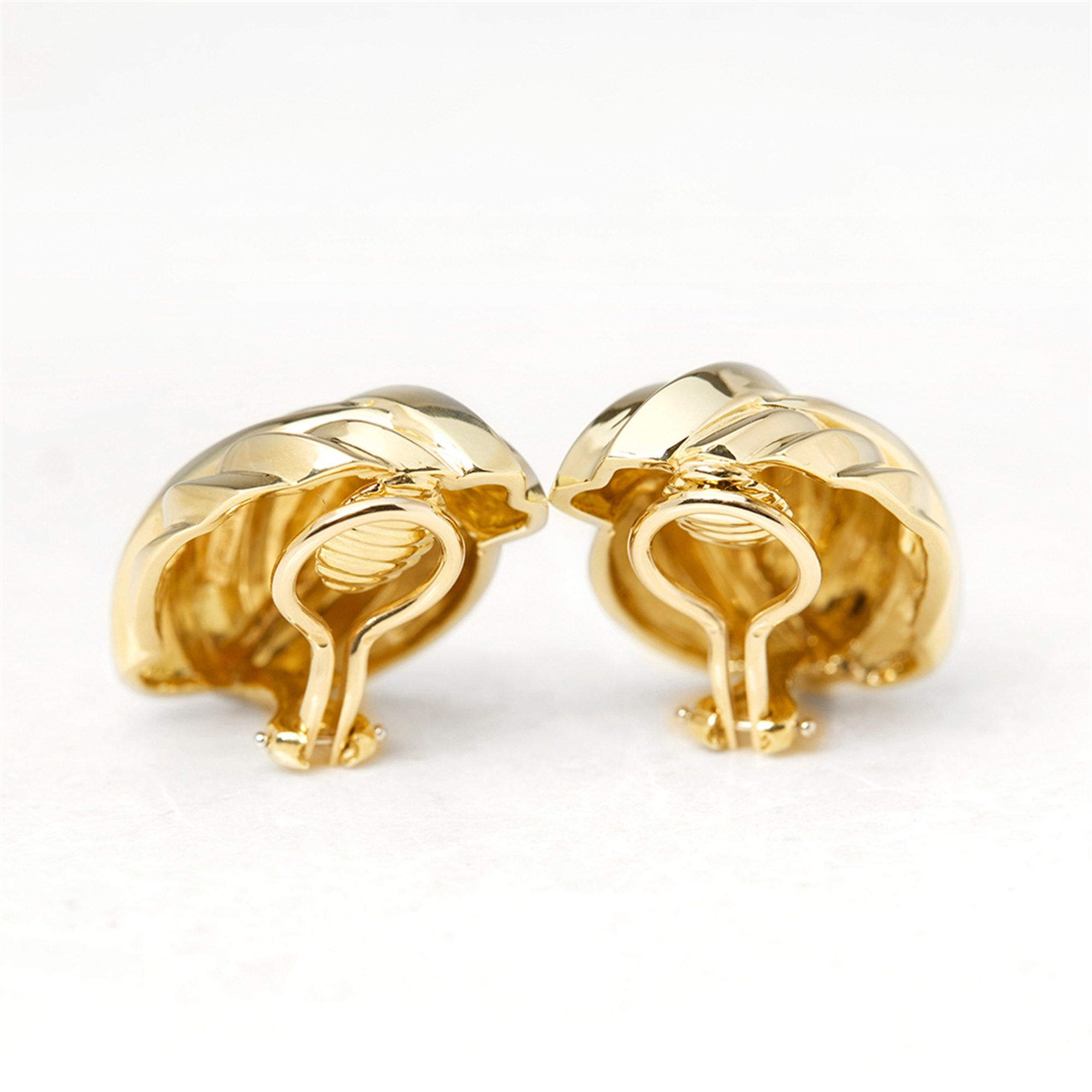 Tiffany & Co. 18k Yellow Gold Shell Design Clip-On Earrings