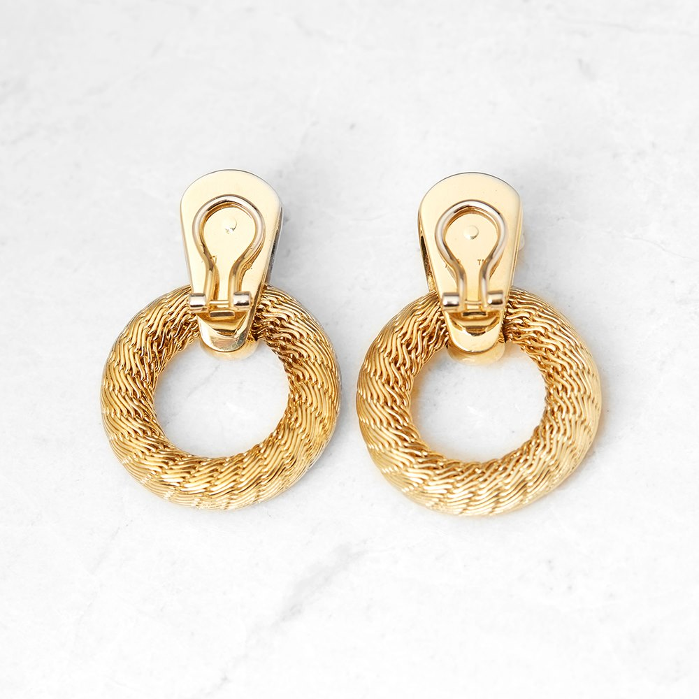 Tiffany & Co. 18k Yellow Gold Woven Hoop Design Clip-On Earrings