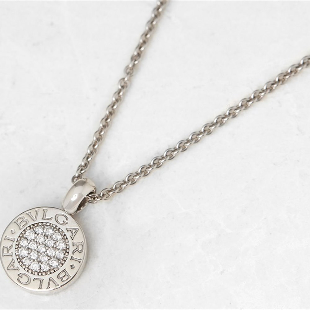 Bulgari 18k White Gold Diamond Circle Pendant Necklace