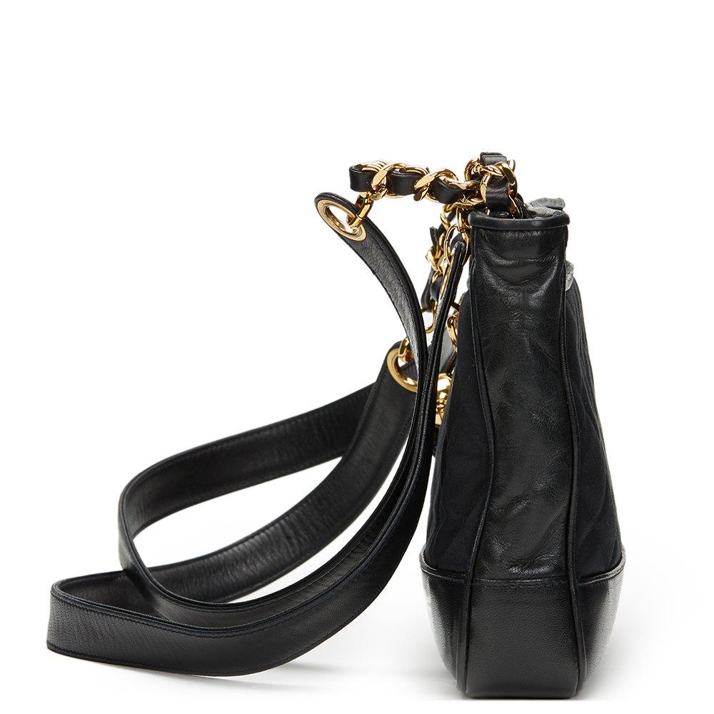 Chanel Black Satin & Lambskin Vintage Mini Timeless Shoulder Bag