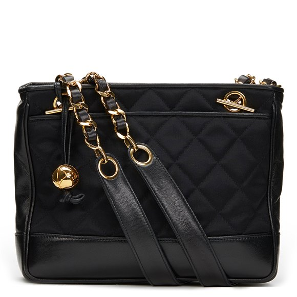 Chanel Black Satin & Lambskin Vintage Mini Timeless Shoulder Bag