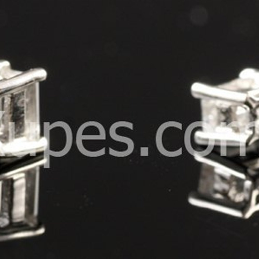 14k White Gold  14K White Gold Baguette Cut Diamond Earrings