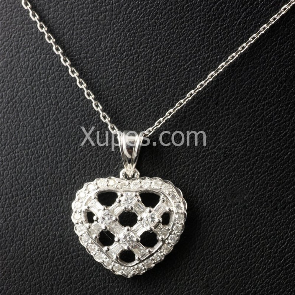 18k White Gold 18K White Gold Diamond Set Heart Pendant & Chain