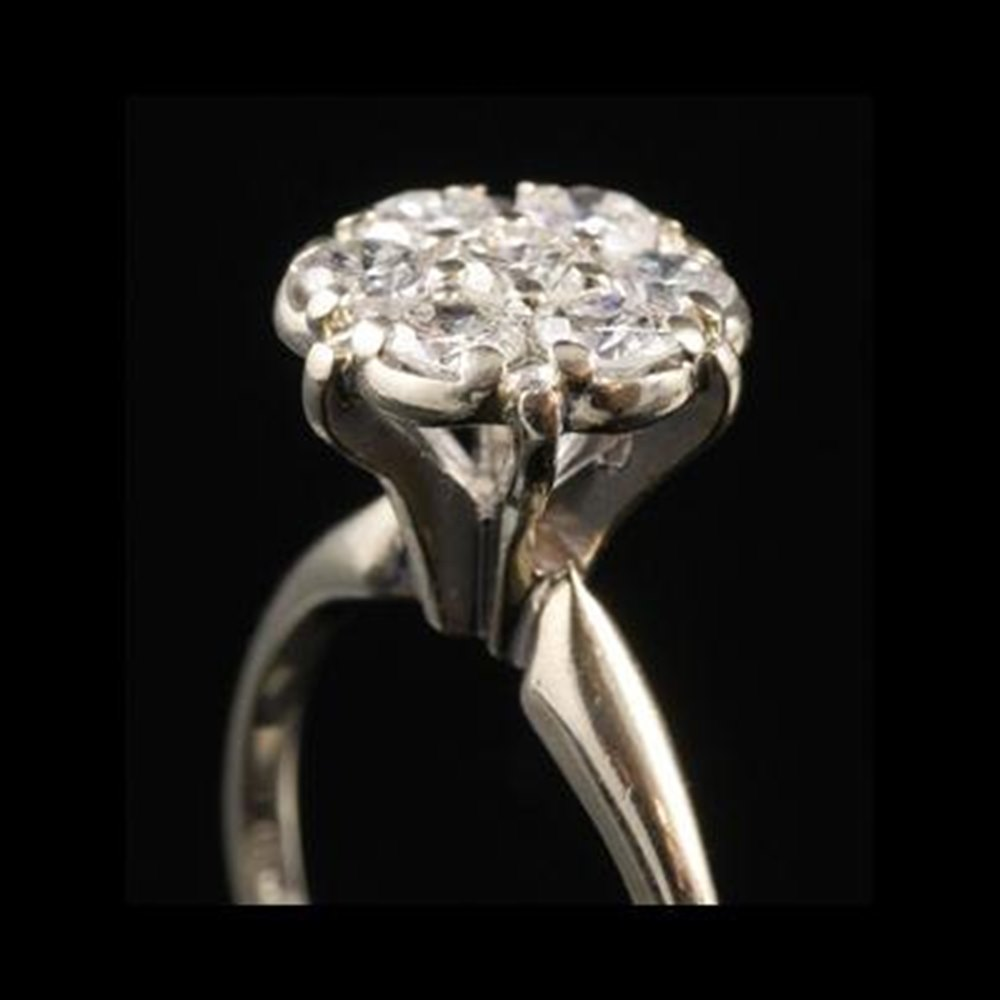 14k White Gold 1950'S 14K White Gold Diamond Cluster Ring