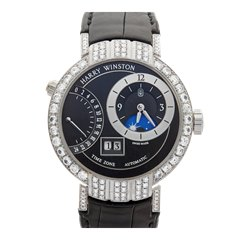 Harry Winston Premier Excenter Time Zone Afterset Diamond 18k White Gold - PRNATZ41WW001