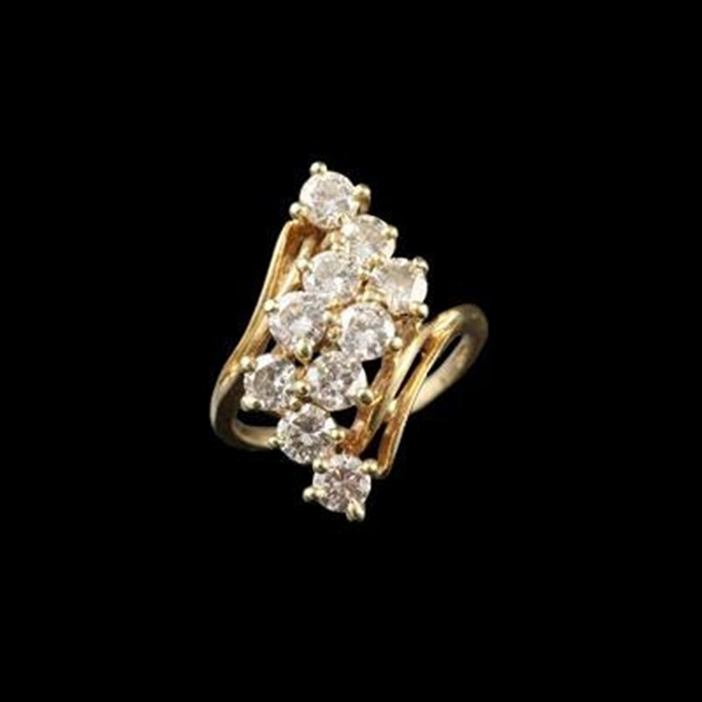 14k Yellow Gold 1950'S 14K Yellow Gold Diamond Cocktail Ring