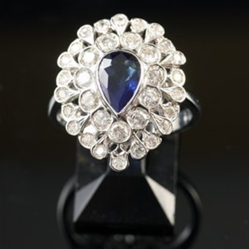 18k White Gold  Unusual 1950'S 18K White Gold Sapphire Pear & Diamond Ring