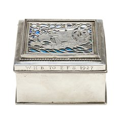 OMAR RAMSDEN ARTS & CRAFTS SILVER AND ENAMEL BOX 1926 + BOOK