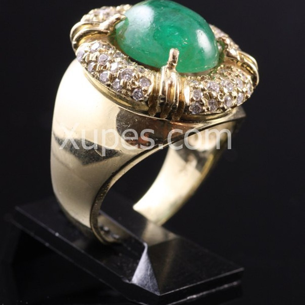 1950'S 14K Yellow Gold Emerald & Diamond Cocktail Ring