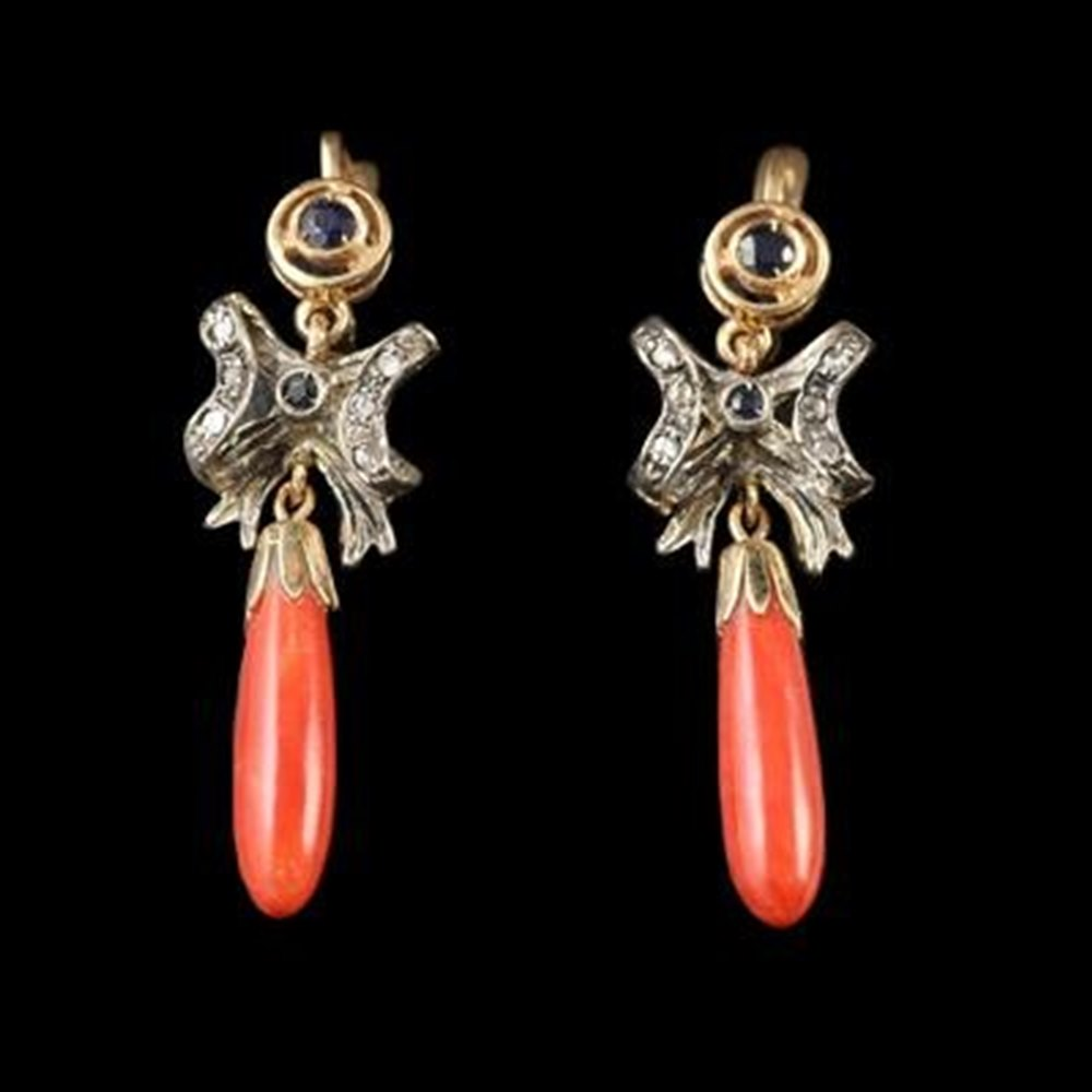 14k White & Yellow Gold  Unusual Antique 14K White & Yellow Gold Diamond, Sapphire & Coral Ear Drops